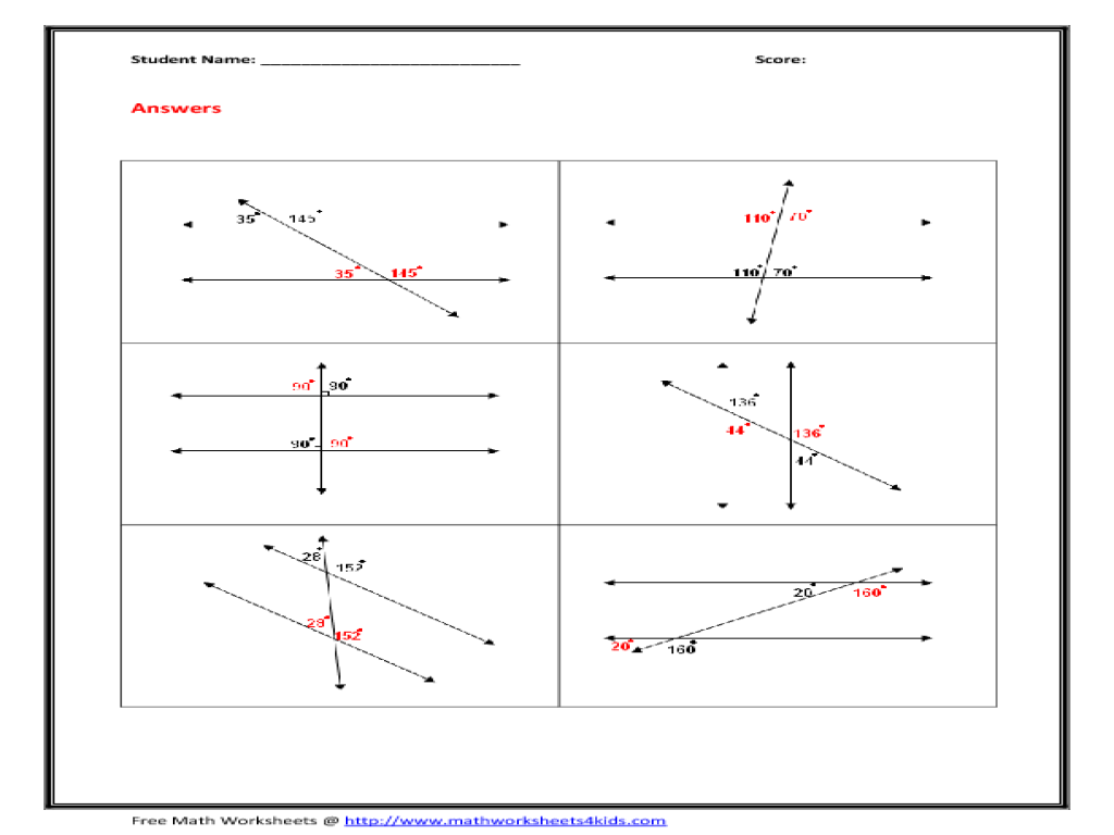 Mathworksheets4kids Angles In Transversal Answer Key Interior Angles Formed By Parallel Lines