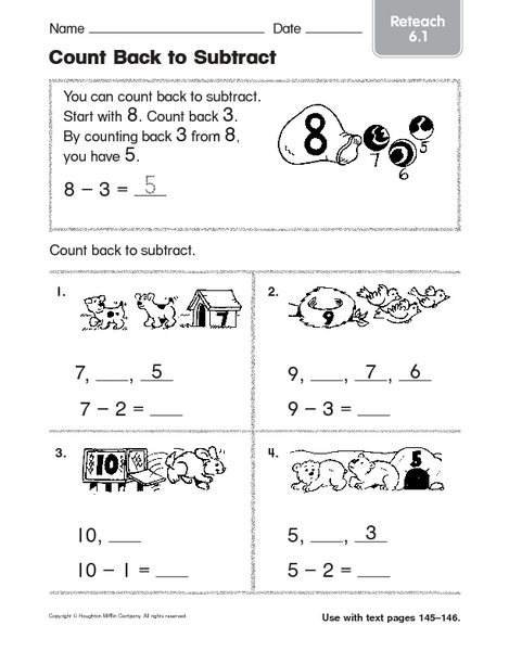 Count Back to Subtract: Reteach 1st - 2nd Grade Worksheet | Lesson ...