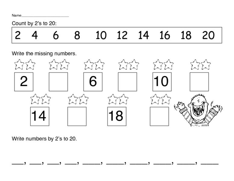 Count By 2s Worksheet on 20 Missing Number Worksheets For Kindergarten