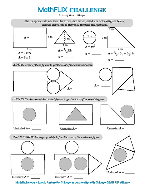 area of composite figures worksheets - Termolak