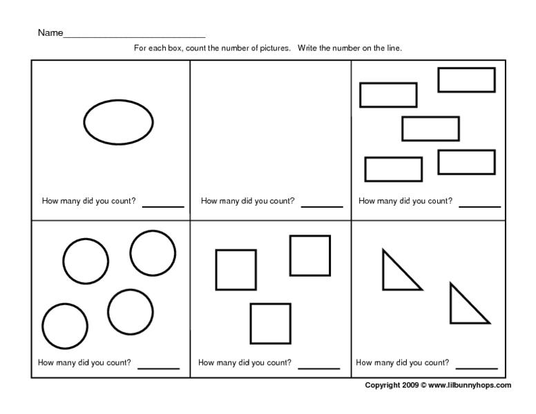 Counting Geometric Shapes - 0-5 Pre-K - Kindergarten Worksheet ...