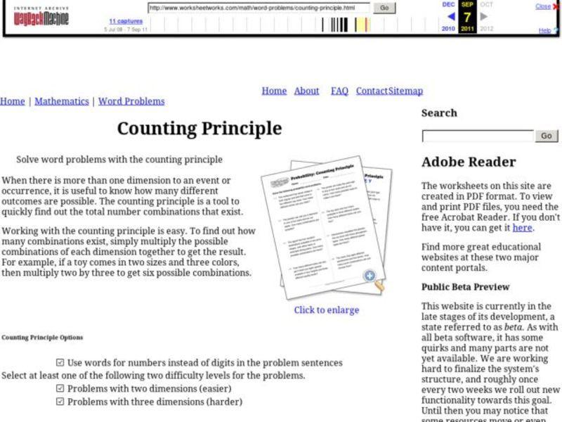 Counting Principle 6th 8th Grade Worksheet – Counting Principle Worksheet