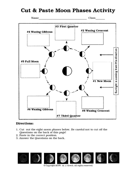 Printables Moon Phases Worksheet cut and paste moon phases activity 7th 10th grade worksheet lesson planet