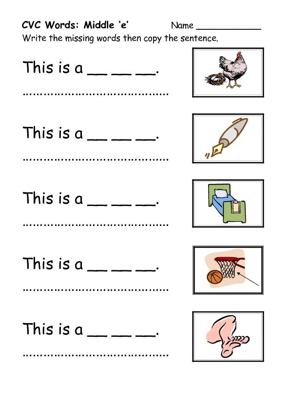Cvc words worksheets kindergarten