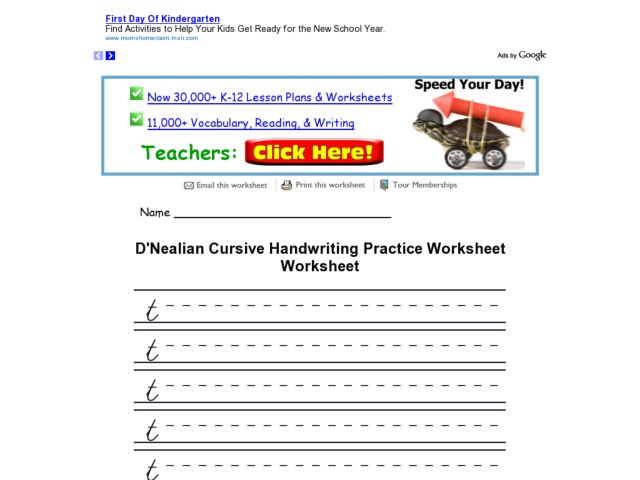 Free Worksheets Letter T Handwriting Free Printable Worksheets – D Nealian Cursive Handwriting Worksheets
