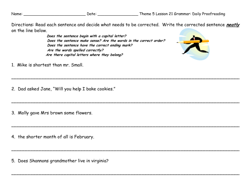 worksheet: Daily Edit Worksheets Complete Sentence Worksheet ...
