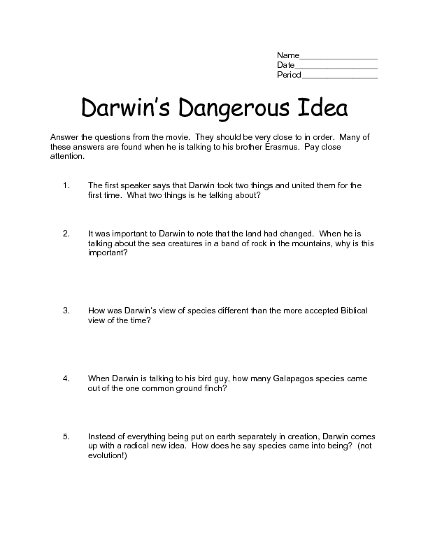 Darwin S Theory Of Evolution Worksheet Answers - The Best and Most ...