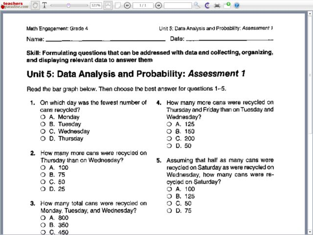 Collection Data Analysis And Probability Worksheets Photos ...