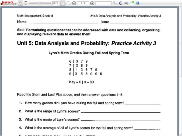 Worksheet Data Analysis Worksheets data analysis and probability practice activity 3 7th 8th grade worksheet lesson planet