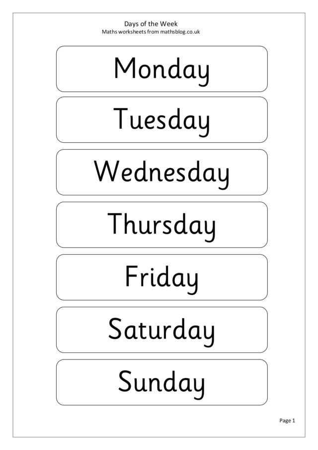 Days of the week worksheets 1st grade