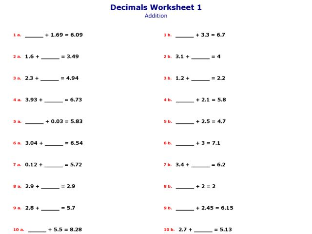 Addition » Addition Worksheets Missing Addends - Free Math ...