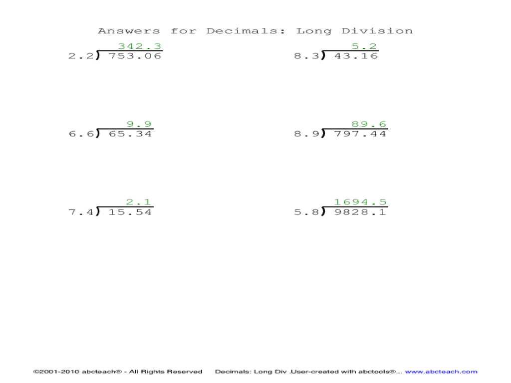 Division worksheets with remainders as decimals