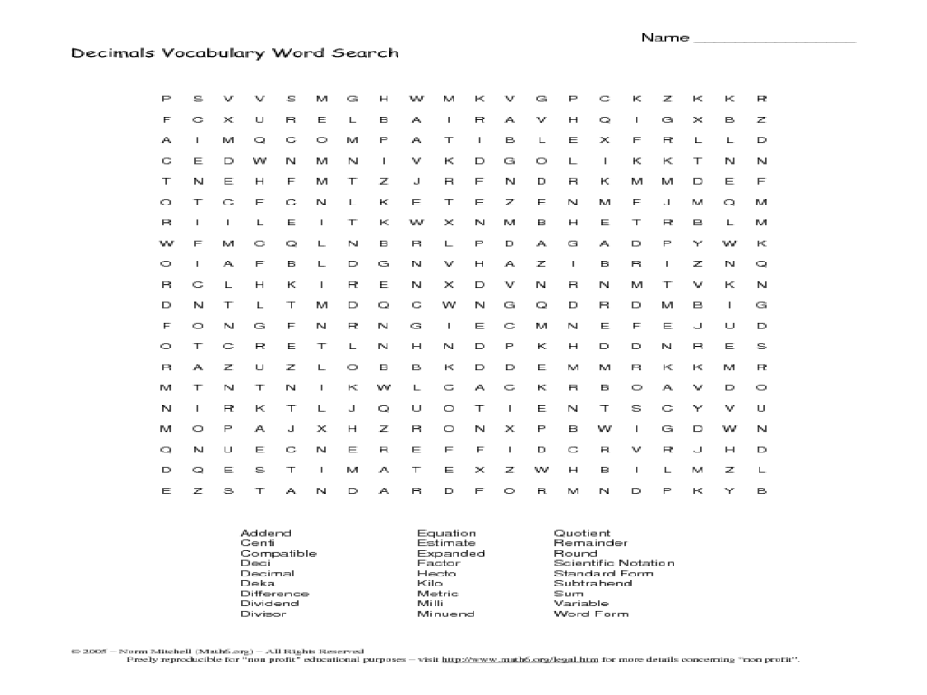 Printables 8th Grade Vocabulary Worksheets decimals vocabulary word search 6th 8th grade worksheet lesson planet
