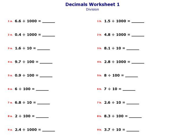 Decimal Long Division Worksheets Versaldobip – Long Division Decimals Worksheet