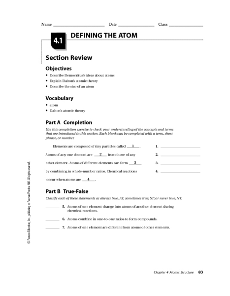 Atoms and elements worksheet 8th grade