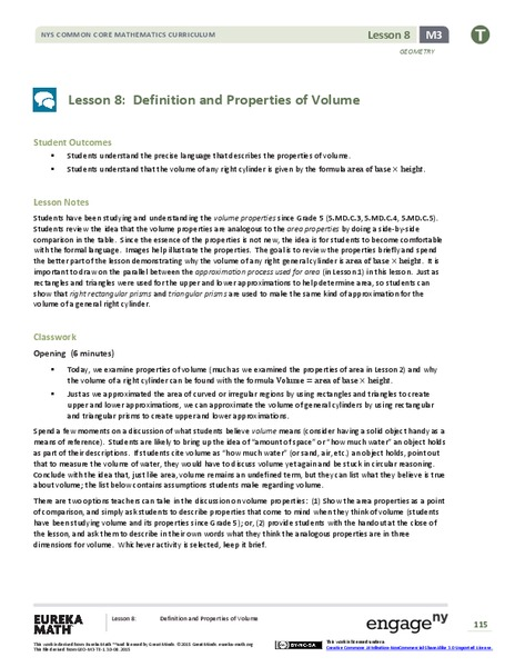 lesson plan in volume of a What is volume a text lesson defines and exemplifies volume while an in-class activity provides a visual additional resources including related.