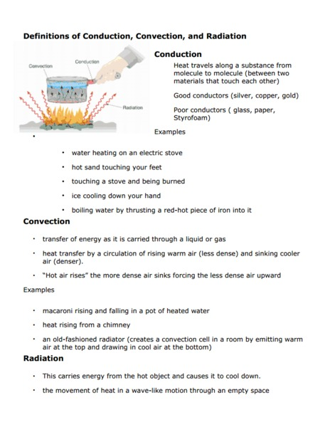 Worksheets Conduction Convection Radiation Worksheet definitions of conduction convection and radiation 6th 8th grade worksheet lesson planet