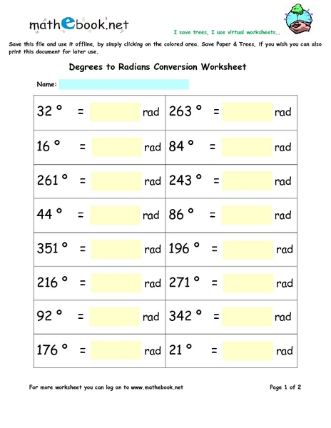 Degrees to Radians Conversion Worksheet 5th - 6th Grade Worksheet ...