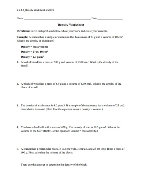 Printables Density Worksheet Chemistry density worksheet 10th 11th grade lesson planet