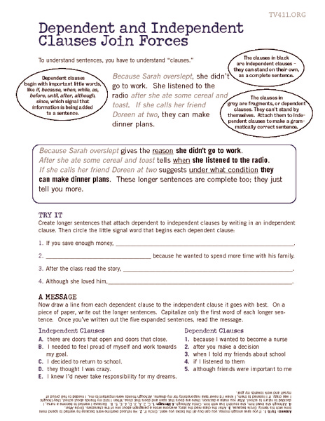 Worksheet Independent And Dependent Clauses Worksheet dependent and independent clauses join forces 7th 12th grade worksheet lesson planet