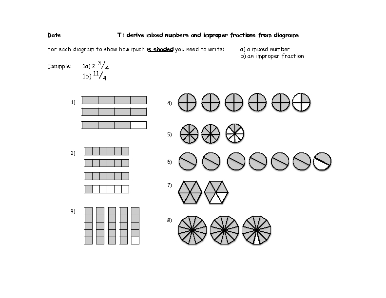 Derive Mixed Numbers and Improper Fractions From Diagrams 4th – Mixed to Improper Fractions Worksheets