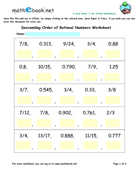 Printables Rational Numbers Worksheet descending order of rational numbers worksheets 6th 8th grade worksheet lesson planet