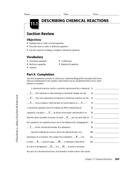 overview chemical reactions worksheet - Termolak