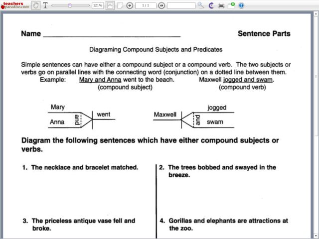diagramming compound subjects and predicates th   th grade    diagramming compound subjects and predicates th   th grade worksheet   lesson planet