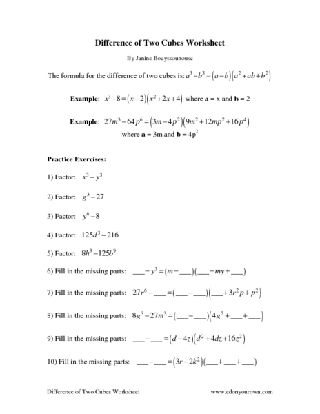 Difference of Two Cubes Worksheet 6th Grade Worksheet | Lesson Planet