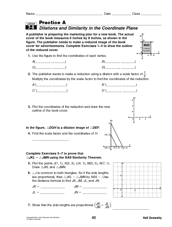 Printables Dilations Worksheet dilations and similarity 8th 10th grade worksheet lesson planet