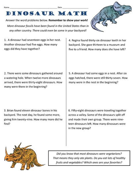 Number Names Worksheets dinosaur math worksheets : Dinosaur Word Problems 2nd - 3rd Grade Worksheet | Lesson Planet