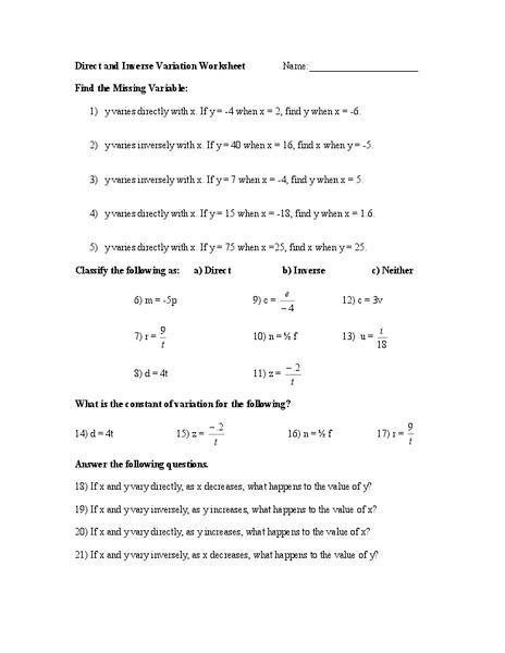 Direct variation word problem worksheet answer key