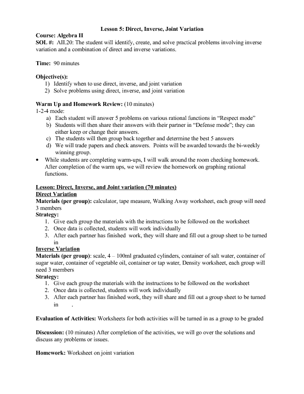 Worksheets Direct Variation Word Problems Worksheet direct inverse and joint variation 11th grade lesson plan planet