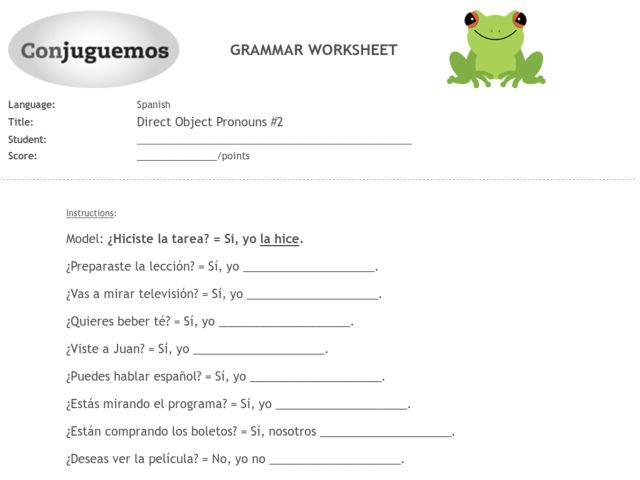 Direct object practice worksheet spanish