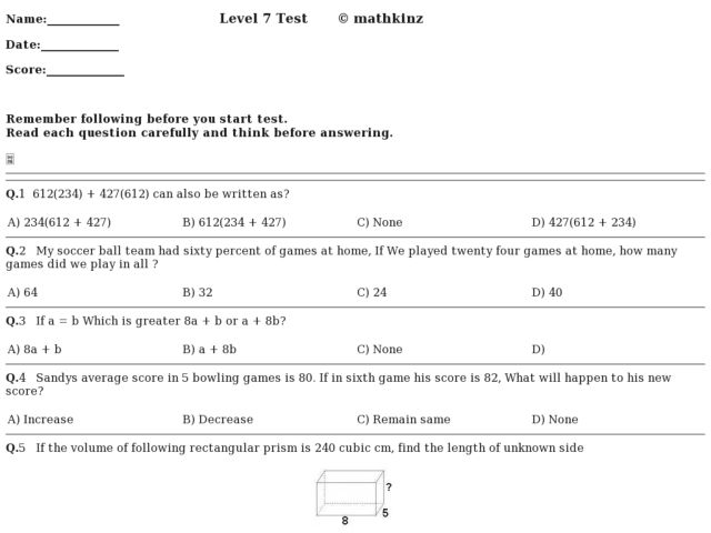 7Th Grade Math Worksheets Integers & Decimals Worksheets