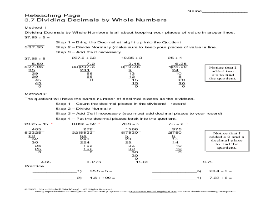 Dividing Decimals by Whole Numbers 6th 10th Grade Worksheet – Dividing Decimals by Whole Numbers Worksheets