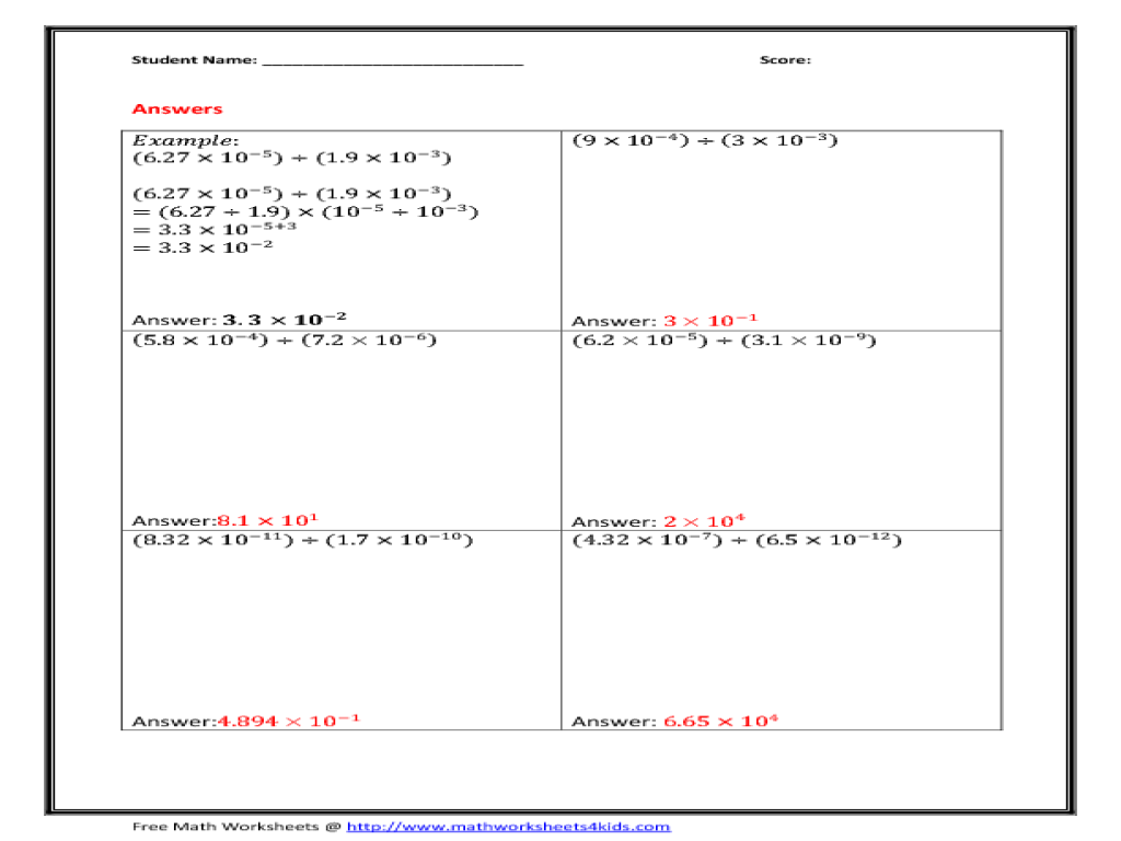 Worksheet 612792 Adding and Subtracting Scientific Notation – Operations with Scientific Notation Worksheet