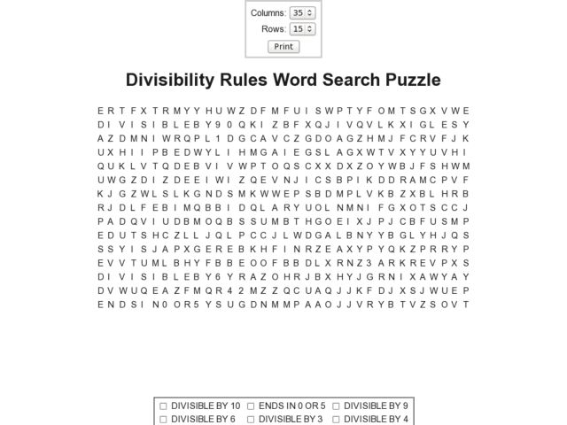 Divisibility Rules Word Search Puzzle 5th 6th Grade Worksheet – Worksheet on Divisibility Rules