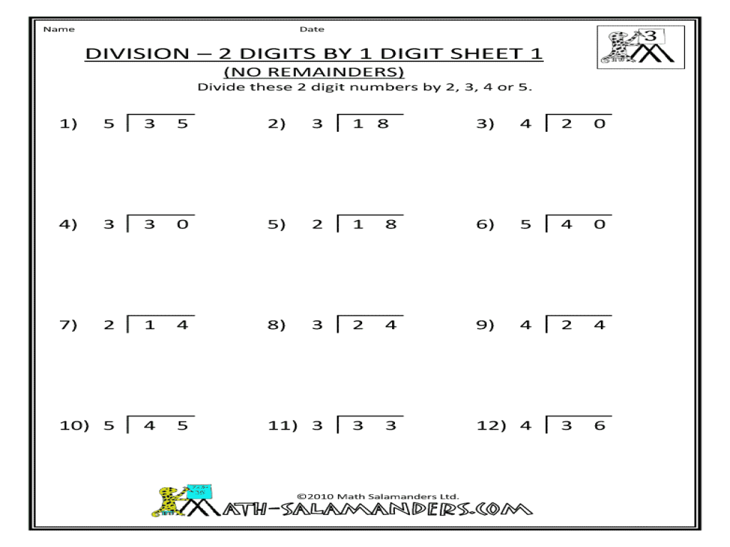 Division By 2 Worksheets Single Digit Division Worksheets – Long Division No Remainders Worksheets