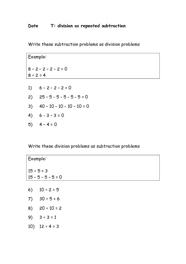 repeated subtraction worksheets Brandonbriceus – Division As Repeated Subtraction Worksheet