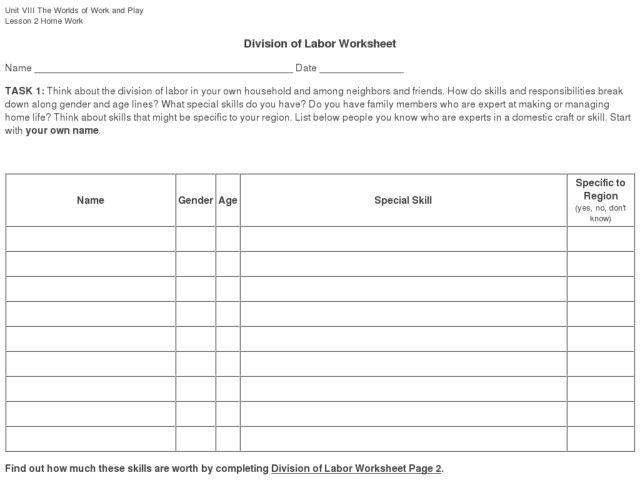 Pre School Worksheets : division of labor worksheets Division Of ...