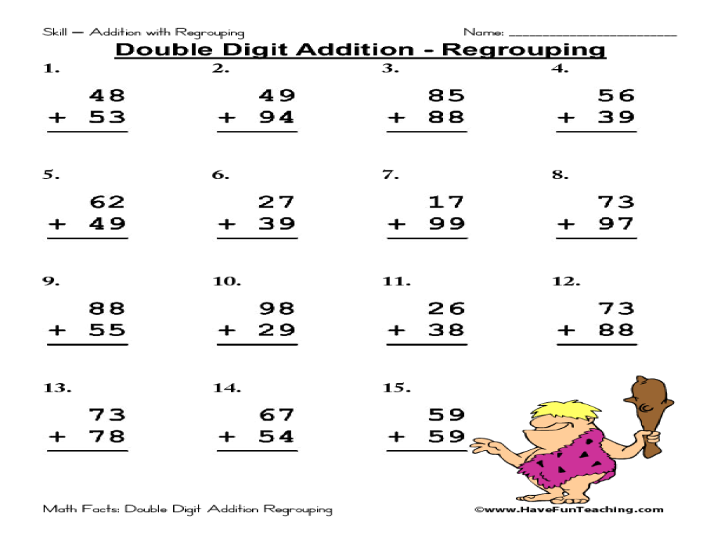 Addition Regrouping Worksheet – Free Addition Worksheets with Regrouping