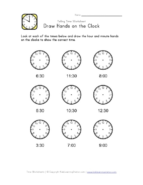 Free Worksheets time worksheets to the nearest half hour : Draw Clock Hands: Nearest Half Hour 2nd - 3rd Grade Worksheet ...