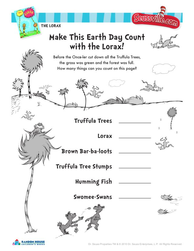 Earth Day With The Lorax-Dr Earth Day Math Worksheets