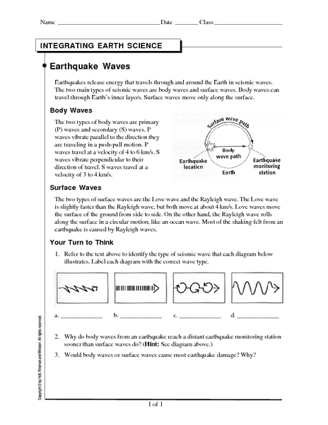 Printables Earthquakes And Seismic Waves Worksheet seismic waves worksheet 6th intrepidpath earthquake 10th grade lesson pla