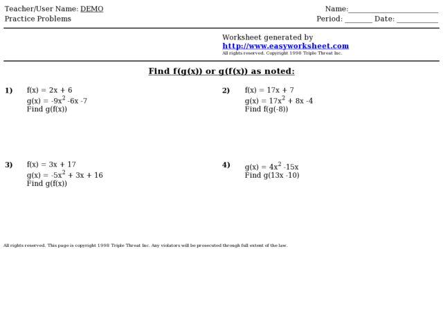Composite Functions Worksheets - Talktoak