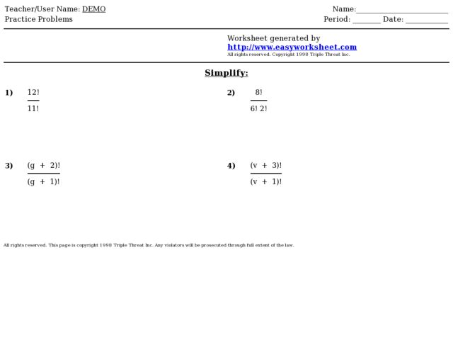 Factorial Worksheet With Answers Image Mag – Factorials Worksheet