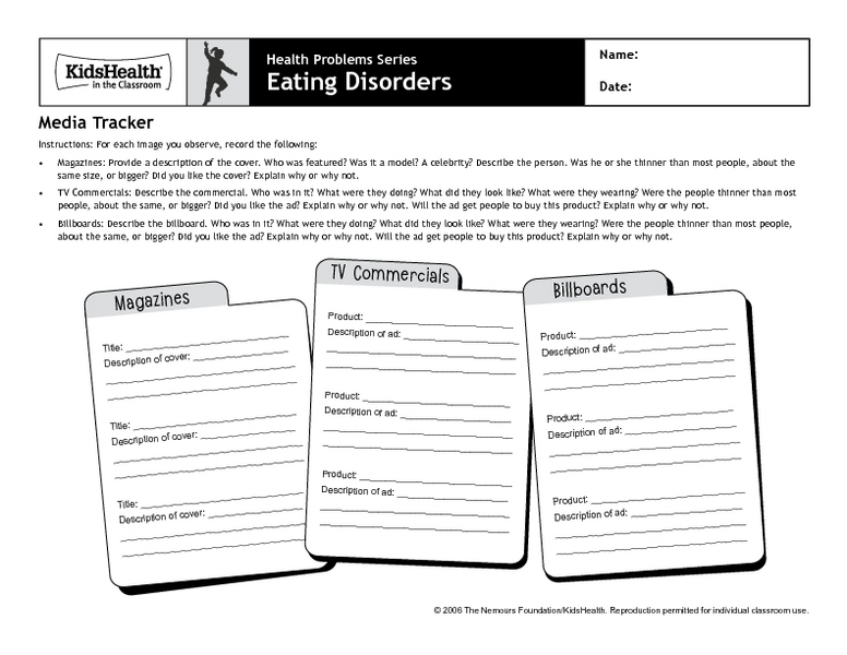 Printables Eating Disorder Worksheets eating disorder worksheets for students intrepidpath disorders media tracker 3rd 6th grade worksheet lesson