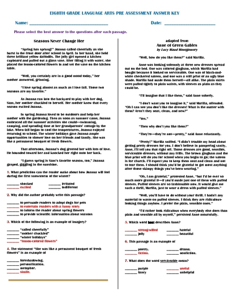 Printables 8th Grade Ela Worksheets eighth grade language arts pre assessment answer key 8th worksheet lesson planet