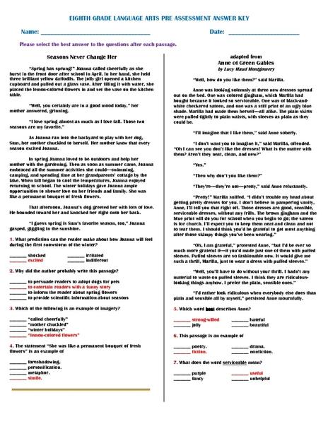 Free eighth grade language arts worksheets